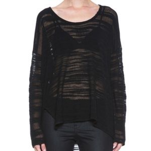 NWT Helmut Lang Black Destroyed Boucle Sweater